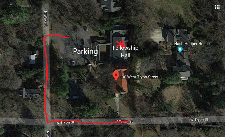 Map to parking at the Hillsborough United Methodist Church.